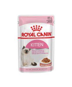 پوچ بچه گربه ۴ تا ۱۲ ماه در آبِ گوشت، ۸۵ گرمی، برند رویال کنین