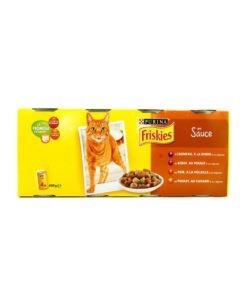 Sinavet Frieskies wet food cat can 4X en sauce