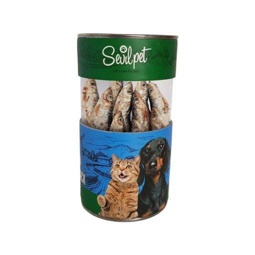 تشویقی ماهی کیلکا خشک شده، مخصوص سگ و گربه، 25 عددی، برند سویل پت