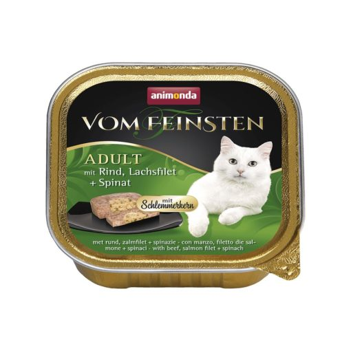 غذای کاسه ای مخصوص گربه بالغ حاوی گوشت گوساله ماهی سالمون و اسفناج 100 گرمی برند ووم فیستن