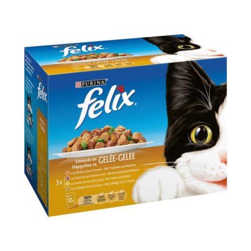 پوچ، مخصوص گربه، در ۴ طعم، پرندگان و سبزیجات، ۱۲ بسته ۱۰۰ گرمی، برند فلیکس