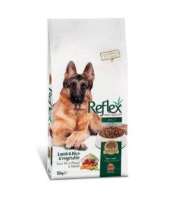 غذای خشک سگ بالغ، حاوی گوشت بره، برنج و سبزیجات، 15 کیلوگرمی، برند رفلکس