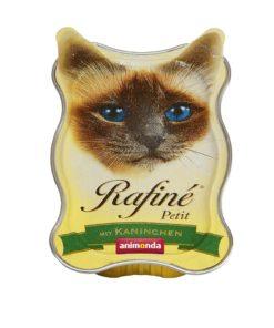 غذای کاسه ای مخصوص گربه بالغ، حاوی گوشت خرگوش، 85 گرمی، برند رافینه