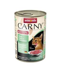 کنسرو مخصوص بچه گربه، پاته حاوی گوشت گاو، مرغ، خرگوش، 400 گرمی، برند کارنی