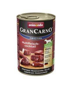 کنسرو مخصوص سگ بالغ، حاوی گوشت شکار، گوساله و مرغ، ۴۰۰ گرمی، برند گرن کارنو