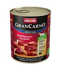 کنسرو مخصوص سگ بالغ، حاوی گوشت شکار، گوساله و مرغ، 800 گرمی، برند گرن کارنو