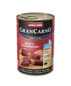 کنسرو مخصوص توله سگ، حاوی گوشت گاو و دل بوقلمون، ۴۰۰ گرمی، برند گرن کارنو