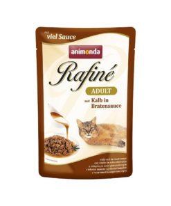 پوچ مخصوص گربه بالغ، حاوی گوشت گوساله در سس تنوری، ۱۰۰ گرمی، برند رافینه