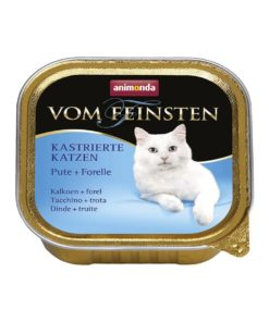 غذای کاسه ای مخصوص گربه عقیم، حاوی بوقلمون و ماهی قزل آلا، 100 گرمی، برند ووم فیستن