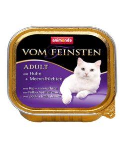 غذای کاسه ای مخصوص گربه بالغ، حاوی مرغ و خوراک های دریایی، برند ووم فیستن، 100 گرمی