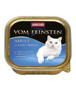 غذای کاسه ای مخصوص گربه بالغ، حاوی ماهی سالمون و میگو، 100 گرمی، برند ووم فیستن