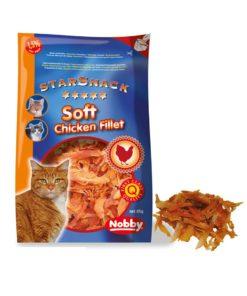 تشویقی نرم استار اسنک، مخصوص گربه، حاوی فیله خالص مرغ، 85 گرمی، برند نوبی
