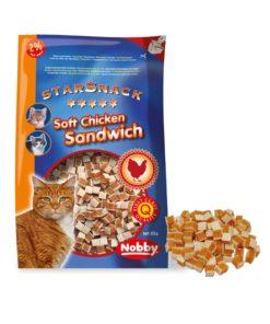تشویقی نرم استار اسنک، مخصوص گربه، طرح ساندویچ مرغ، 85 گرمی، برند نوبی