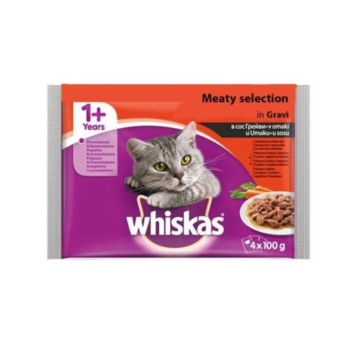 پوچ مخصوص گربه بالغ، حاوی انواع گوشت، 4 بسته 100 گرمی، برند ویسکاس