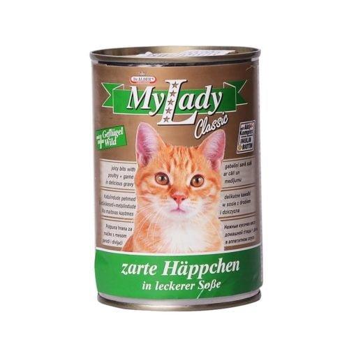 کنسرو مخصوص گربه، حاوی گوشت مرغ و شکار، 415 گرمی، برند دکتر آلدرز