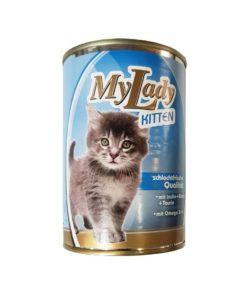 کنسرو مخصوص بچه گربه، حاوی تکه های گوشت مرغ، 400 گرمی، برند دکتر آلدرز