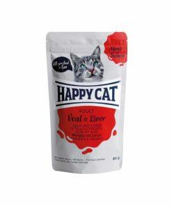 پوچ گربه، حاوی گوشت گاو و جگر، 85 گرمی، برند هپی کت