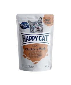 پوچ گربه، حاوی مرغ و اردک، 85 گرمی، برند هپی کت