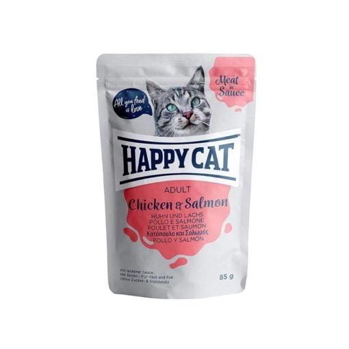 پوچ گربه، حاوی مرغ و ماهی سالمون، 85 گرمی، برند هپی کت