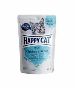 پوچ گربه، حاوی مرغ و ماهی قزل آلا، 85 گرمی، برند هپی کت
