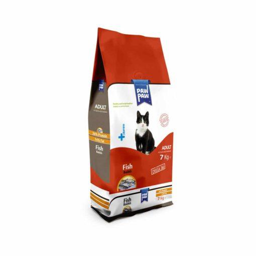 غذای خشک گربه بالغ، حاوی ماهی، 7 کیلوگرمی، برند پاو پاو