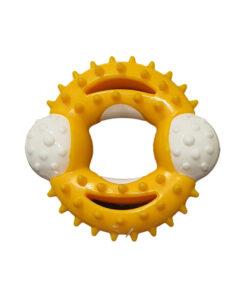 اسباب بازی دندانی لاتکسی گرد، مخصوص سگ، برند دارلینگ پت، زرد