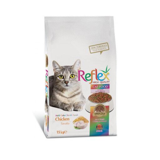 غذای خشک گربه بالغ، مخلوط چند رنگ، طعم مرغ، 15 کیلوگرمی، برند رفلکس