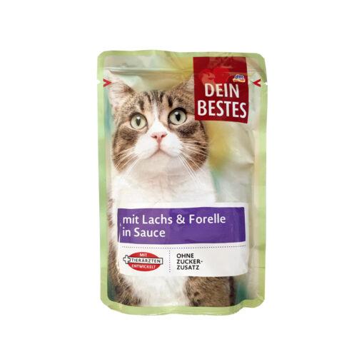 سوپ مخصوص گربه، حاوی ماهی سالمون و قزل آلا در سس، ۱۰۰ گرمی، برند دین بستس