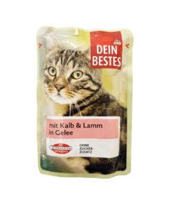 سوپ مخصوص گربه، حاوی گوشت گوساله و بره در ژله، ۱۰۰ گرمی، برند دین بستس
