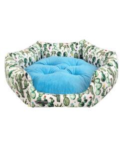 جای خواب شش ضلعی، مناسب سگ و گربه، سایز 1، VIP، برند نیناپت، کاکتوس، فیروزه ای
