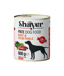 کنسرو مخصوص سگ، گوشت گوساله و سبزیجات، پاته، 800 گرمی، برند شایر