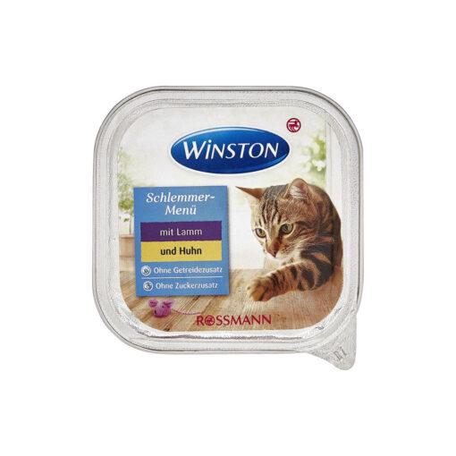 غذای کاسه ای، مخصوص گربه، حاوی گوشت بره و مرغ، 100 گرمی، برند وینستون