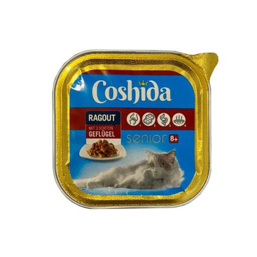 غذای کاسه ای، مخصوص گربه های بالای 8 سال، حاوی مرغ، تکه ای، 100 گرمی، برند کوشیدا