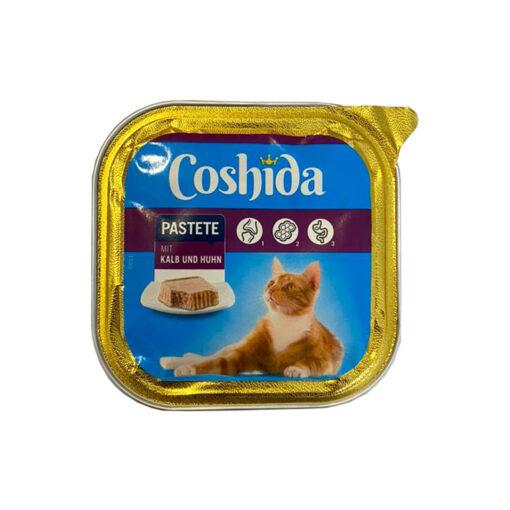 غذای کاسه ای، مخصوص گربه، حاوی گوساله و مرغ، پاته، 100 گرمی، برند کوشیدا