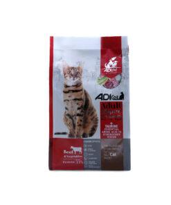 غذای خشک گربه بالغ، سوپر پریمیوم، گوشت گوساله و سبزیجات، برند ادی کت