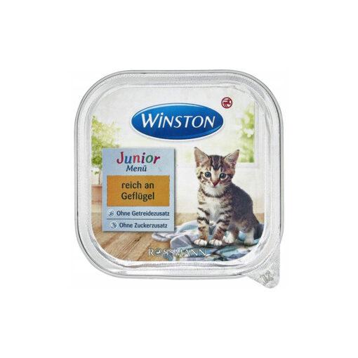 غذای کاسه ای بچه گربه، حاوی گوشت مرغ، 100 گرمی، برند وینستون