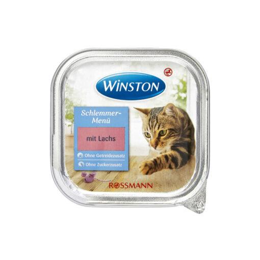 غذای کاسه ای، مخصوص گربه، حاوی ماهی سالمون، 100 گرمی، برند وینستون