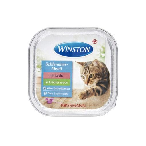 غذای کاسه ای گربه، ماهی سالمون در سس سبزیجات، 100 گرمی، برند وینستون