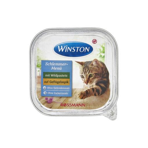 غذای کاسه ای گربه، حاوی گوشت شکار در سس مرغ، پاته، 100 گرمی، برند وینستون