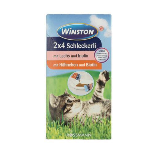 تشویقی مایع (بستنی) گربه، طعم مرغ و ماهی، بسته 8 عددی، برند وینستون
